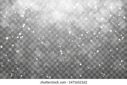 Christmas snow. Falling snowflakes on dark background. Snowfall. Vector illustration.