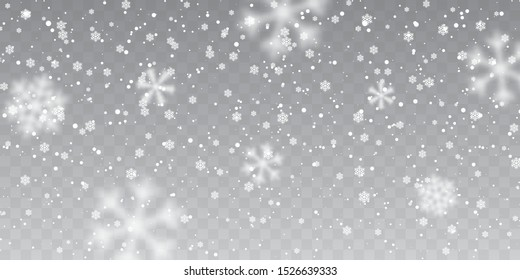 Christmas snow. Falling snowflakes on transparent background. Snowfall. Vector illustration.