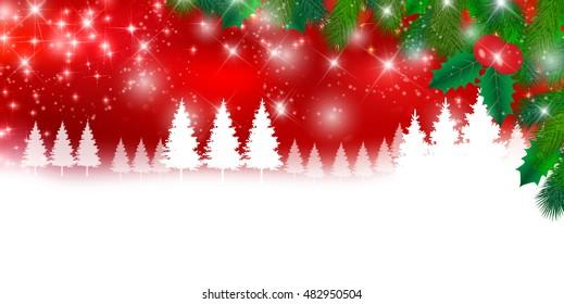 Christmas snow fir tree background