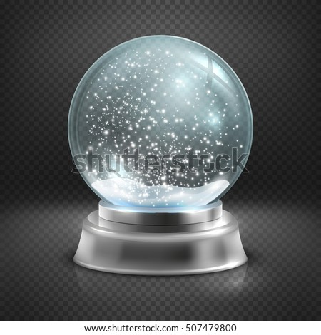 Christmas Snow Globe Isolated On Transparent Stock Vector
