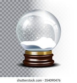 Christmas snow globe on checkered background. Magic ball with snowflake, shiny translucent, vector illustration