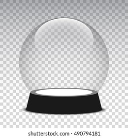 Christmas snow globe on transparent background. Glass sphere. Vector illustration.