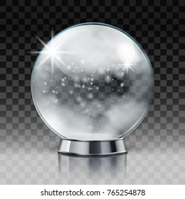 Christmas Snow Globe. Transparent Christmas Ball With Snow Inside. EPS10 Vector