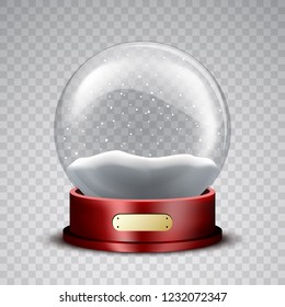 Christmas snow globe with wooden stand and snowflakes on transparent background. Vector illustration.