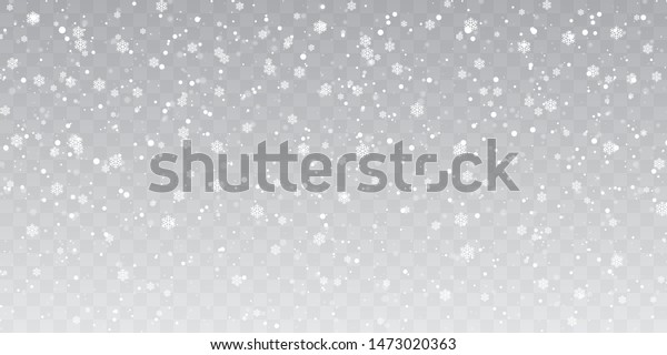 Christmas snow. Heavy snowfall. Falling snowflakes on transparent background. White snowflakes flying in the air. Vector illustration.