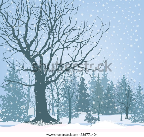 Christmas Snow Landscape Wallpaper Snowy Forest Stock Vektorgrafik Lizenzfrei 236771404