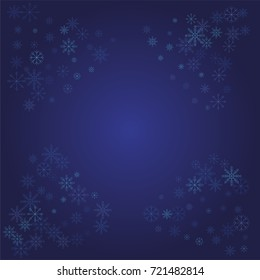 Christmas snow powder frame or border of a random scatter snowflakes on a blue background. Snow explosion. Ice storm.