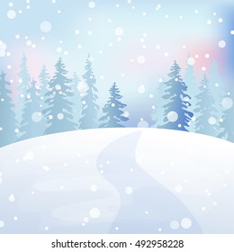 Christmas snow scene with fir tree. Winter forest. Holiday background