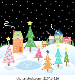 Christmas Snow Scene with Village and Christmas Trees