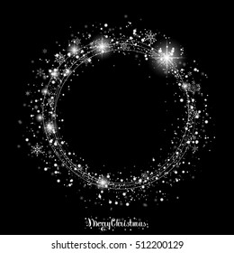Christmas Snowfall. The circle of snowflakes sparkling transparent beautiful snow isolated on black background Lettering Merry Christmas. Snow Vector illustration