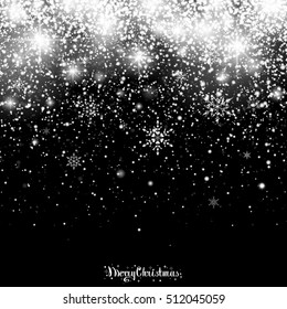 Christmas Snowfall. Falling Christmas sparkling transparent beautiful snow isolated on black background. Lettering Merry Christmas. Snowflakes. Vector illustration.