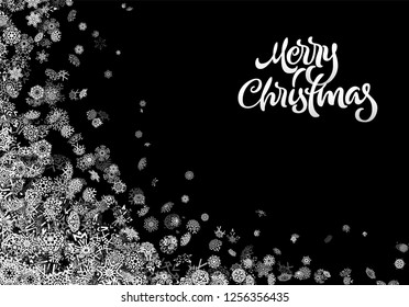 Christmas snowflake background or abstract card with falling scattered snow for winter New Years Eve holidays celebration