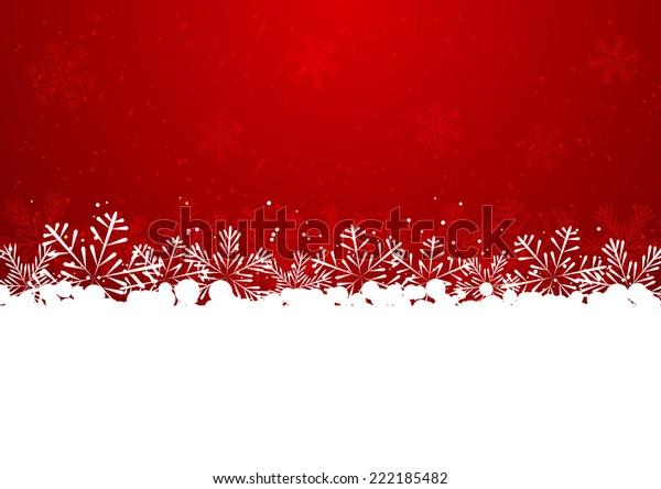 Christmas snowflake border on red