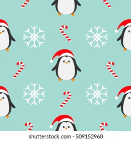 Christmas snowflake candy cane, bear wearing red santa hat, scarf. Seamless Pattern Decoration. Wrapping paper, textile template. Blue background. Flat design. Vector illustration.