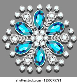 Christmas snowflake crystal precious. Beautiful jewelry, medallion, brooch, decoration on neck, mandala, frame. Fashion pattern brilliant stones, applique rhinestones, jeweler