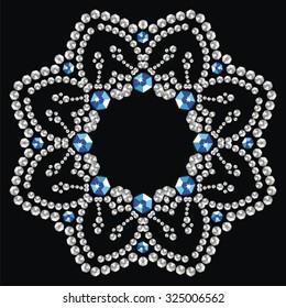 Christmas snowflake crystal precious. Beautiful jewelry, medallion, brooch, decoration on neck, mandala, frame. Fashion pattern brilliant stones, silver applique rhinestones, jeweler - stock vector