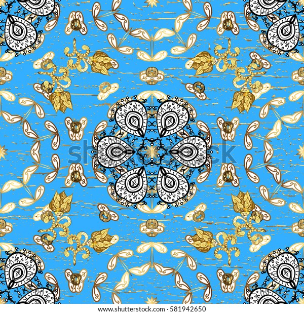 Christmas, snowflake, new year 2018. Vintage pattern on blue background with golden elements.