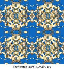 Christmas, snowflake, new year 2019. Seamless vintage pattern on blue, brown and white colors with golden elements.