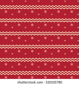 Christmas snowflake pattern and zigzag lines on red background, festive theme
