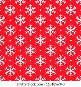 Christmas snowflake seamless pattern. White snow red background. Wrapping texture. Holiday design for Christmas and New Year fashion prints. Vector icons of winter holidays, cold season snowfall.