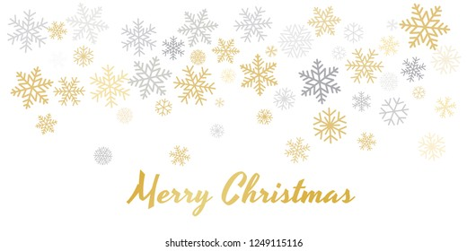 Christmas snowflakes background with place for text. Winter gold and silver snow minimal decoration on white, greeting card. New Year Holidays backdrop. Vector illustration