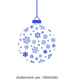 Christmas snowflakes and balls. Vector illustration.