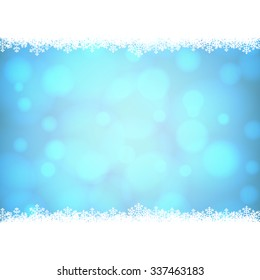 Christmas snowflakes border with shiny golden background