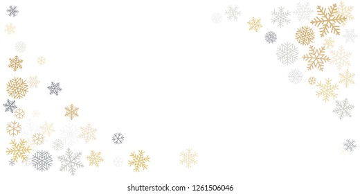 Christmas snowflakes corner background with place for text. Winter gold and silver snow minimal decoration on white, greeting card. New Year Holidays backdrop. Vector illustration