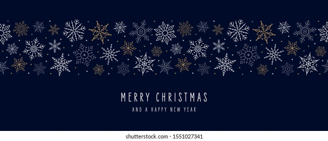 Christmas snowflakes elements ornaments seamless banner greeting card on blue background