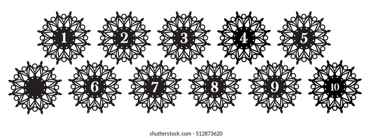 christmas snowflakes with figures- die cut pattern. Table numbers,cutout silhouette panel. Fretwork oriental background. Laser cut pattern background vector. Vector ornamental panel.wood/Paper cutting