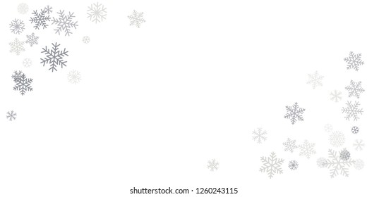 Christmas snowflakes frame or border. Winter silver snow background, minimal decoration on white, greeting card. New Year Holidays backdrop. Flake Vector illustration EPS 10
