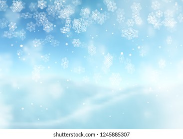 Christmas snowflakes on a defocussed background