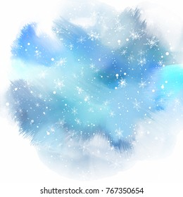 Christmas snowflakes on a watercolour paint background