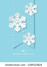 Christmas snowflakes with pearls. Blue dotted holiday background with greeting text. Vector illustration.