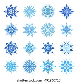 Christmas snowflakes set on a light background