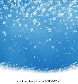 Christmas Snowflakes Shining, transparent beautiful falling snow isolated on blue background. Vector snowflake illustration. Fashion snowfall decoration design.