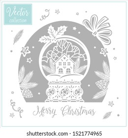 Christmas snowglobe. Collection of Christmas illustrations. The decor for the holiday. Christmas vector paper art and craft style. Snowball. Winter house
