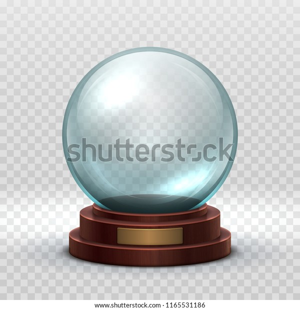 Christmas snowglobe. Crystal glass empty ball. Magic xmas holiday snow ball vector mockup isolated. Illustration of dome souvenir transparency, sphere ball transparent glossy