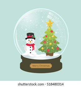 christmas snowglobe with fir tree and cute snowman