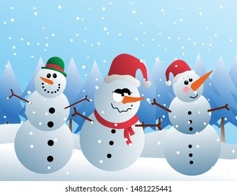 Christmas snowman character emoticon. The image is isolated from background. Can be used for gift card, wallpaper, poster, background, sticker, emoticon. High resolution image vector.