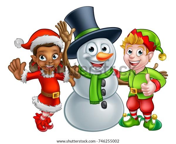 Christmas Snowman and Elf Santas Helpers cartoon characters