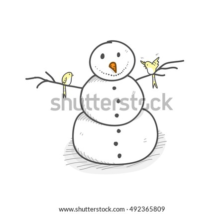 Christmas Snowman Hand Drawn Vector Illustration Stock Vector
