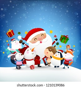 Christmas Snowman Santa claus and animal cartoon smile and jumping with happiness over falling snow in the winter night backgroud vector illustration