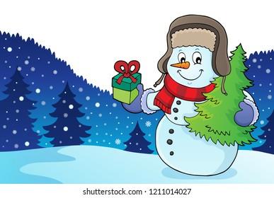 Christmas snowman subject image 2 - eps10 vector illustration.