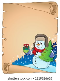 Christmas snowman subject parchment 3 - eps10 vector illustration.
