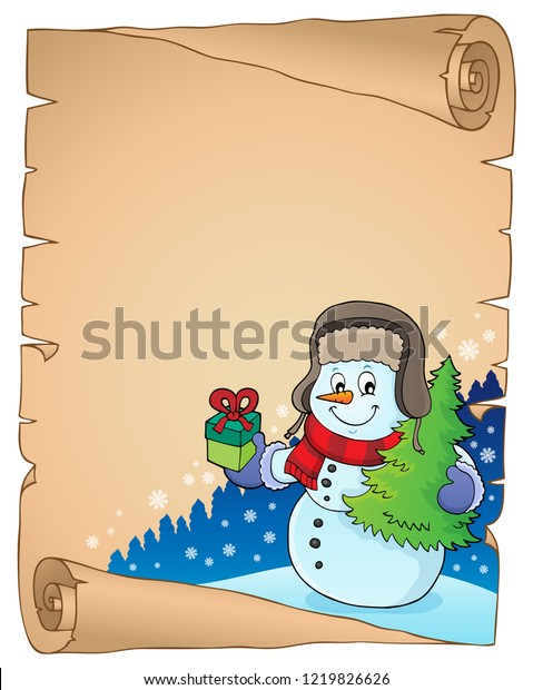 Christmas snowman subject parchment 3 - eps10 vector illustration.