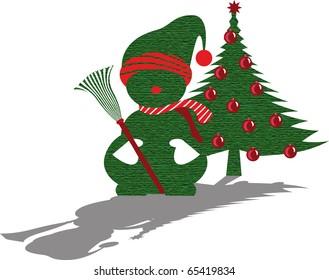 christmas snowman tree green
