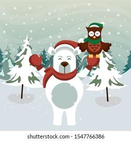 christmas snowscape scene with bear polar character vector illustration design