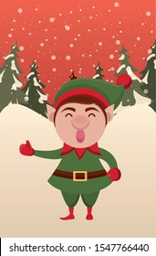 christmas snowscape scene with cute elf character vector illustration design