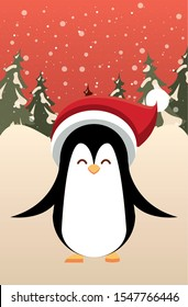 christmas snowscape scene with cute penguin vector illustration design